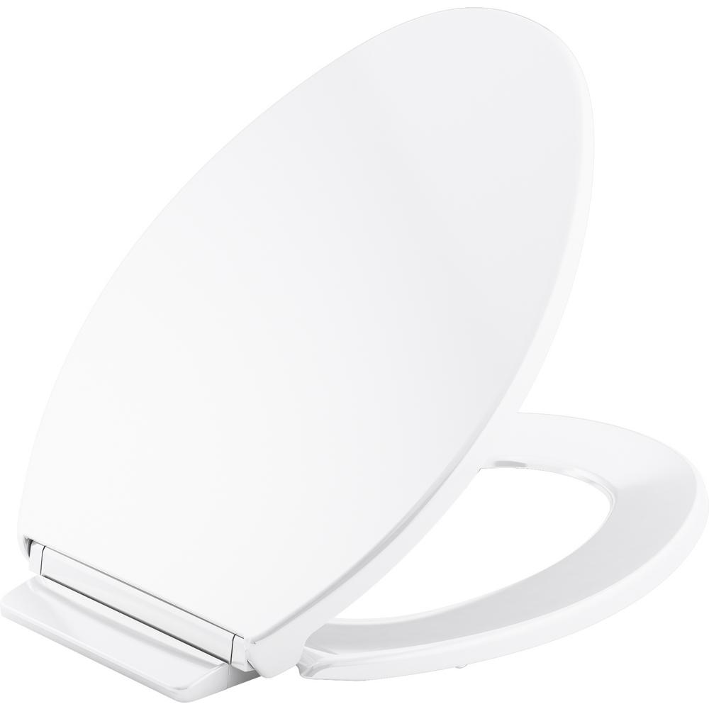 KOHLER Highline Quiet-Close Elongated Closed Front Toilet Seat in White