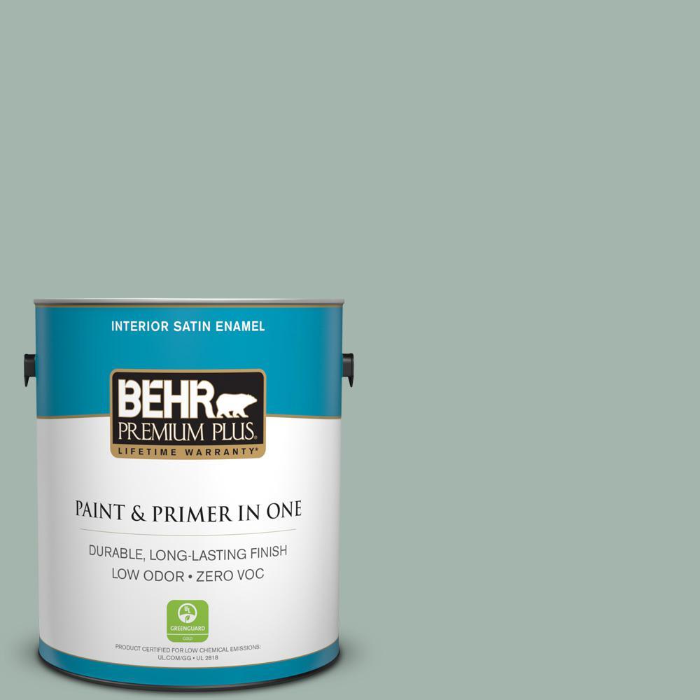 BEHR Premium Plus 1-gal. #460E-3 Smokey Slate Zero VOC Satin Enamel Interior Paint