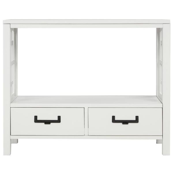 30 in. White with 2-Bottom Drawers Console Table