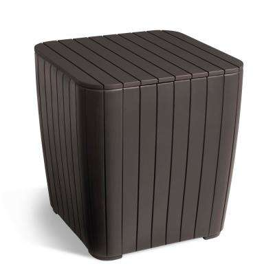 Luzon Rezolith Brown Outdoor Side Table with Storage