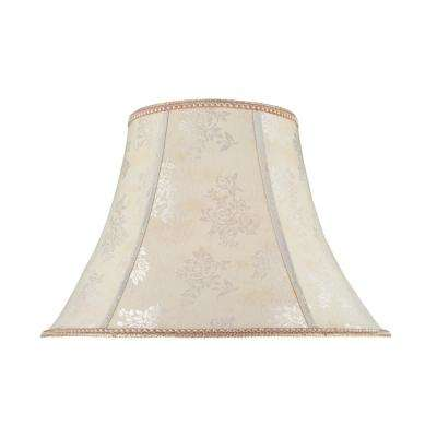 18 in. x 13 in. Off White and Floral Design Bell Lamp Shade