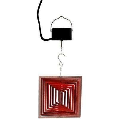 6 in., 3D Ruby Red Square Wind Spinner with Electric-Operated Motor