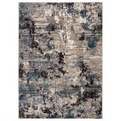 Carraco Blue/Cream 2 ft. 3 in. x 8 ft. Abstract Runner Rug