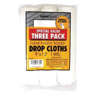 9 ft. x 12 ft. 3-Piece 1 mil. Rolled Plastic Drop Cloth (12-Pack)
