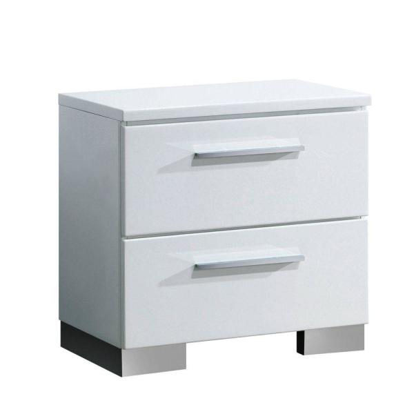 Contemporary 2-Drawer White Wooden Nightstand