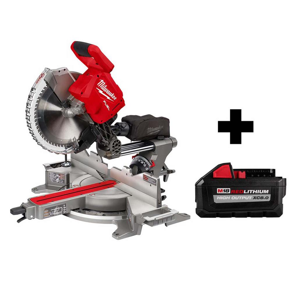 Milwaukee M18 FUEL 18-Volt 12 in. Lithium-Ion Brushless Cordless Dual Bevel Sliding Compound Miter Saw with Free 8.0 Ah Battery was $868.0 now $599.0 (31.0% off)