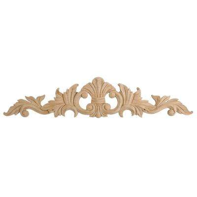 6-1/2 in. x 30 in. x 3/4 in. Unfinished X-Large Hand Carved North American Solid Alder Wood Onlay Acanthus Wood Applique