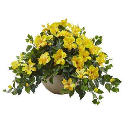 Indoor Hibiscus Flowering Artificial Plant in Sand Colored Bowl