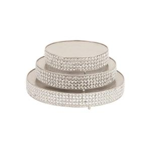 Litton Lane Silver Iron Round Cake Stands With Round Crystal Beads Edge Detailing And Ball Feet Set Of 3 54267 The Home Depot