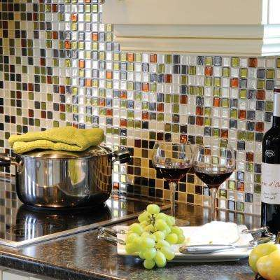 Idaho Approximately 3 in. W x 3 in. H Beige, Green, Gray and Rust Decorative Mosaic Wall Tile Backsplash Sample