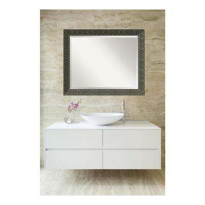Intaglio Embossed Black Gold Wood 32 in. W x 26 in. H Single Traditional Bathroom Vanity Mirror