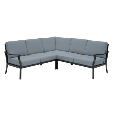 Riley 3-Piece Black Steel Outdoor Patio Sectional Sofa with Sunbrella Denim Blue Cushions