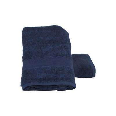 Luxury Cotton Bath Towels in Navy (Set of 2)