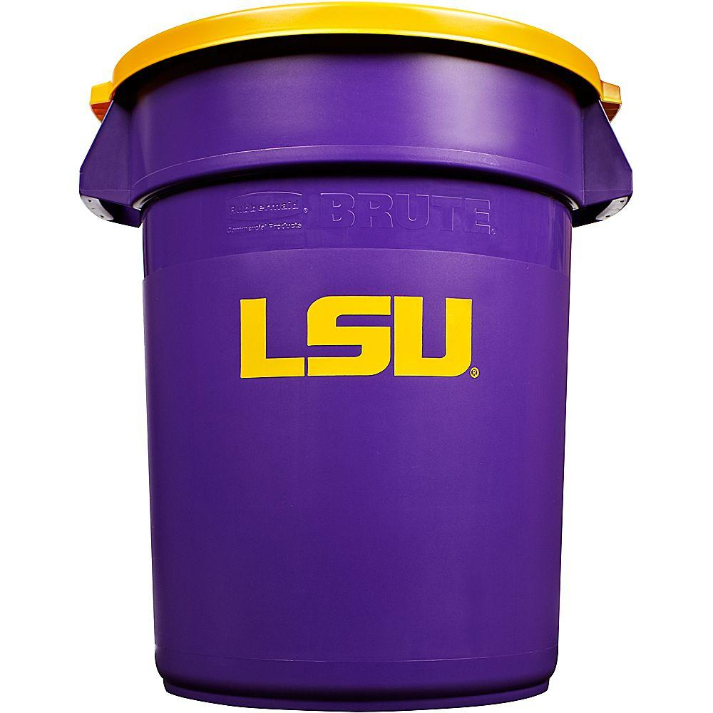 Rubbermaid Commercial Products BRUTE NCAA 32 Gal. Louisiana State University Round Trash Can with Lid