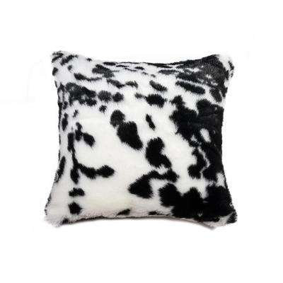 Faux Cowhide Black and White 18 in. x 18 in. Decorative Pillow