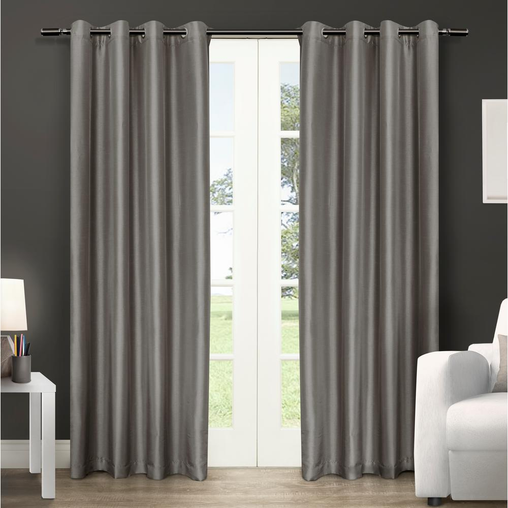 Chatra Silver Cloud Faux Silk Grommet Top Window Curtain
