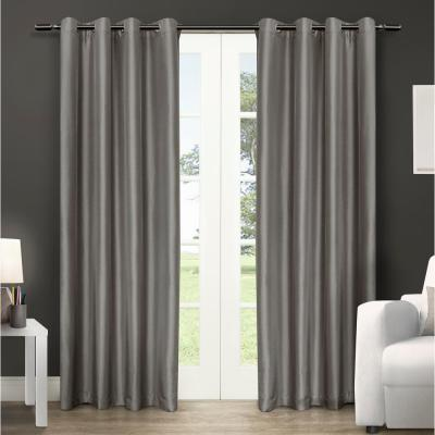Chatra 54 in. W x 96 in. L Faux Silk Grommet Top Curtain Panel in Silver Cloud (2 Panels)