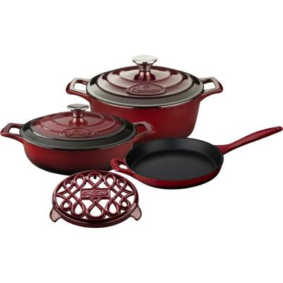PRO 6-Piece Enameled Cast Iron Cookware Set with Saute, Skillet and Round Casserole with Trivet in Ruby