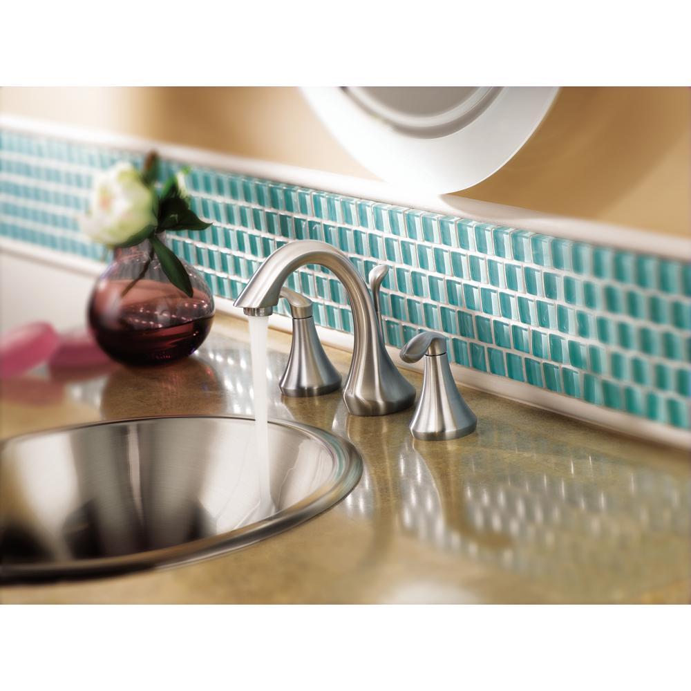 Eva 8 in. Widespread 2-Handle Bathroom Faucet Trim Kit in Brushed Nickel (Valve Included)