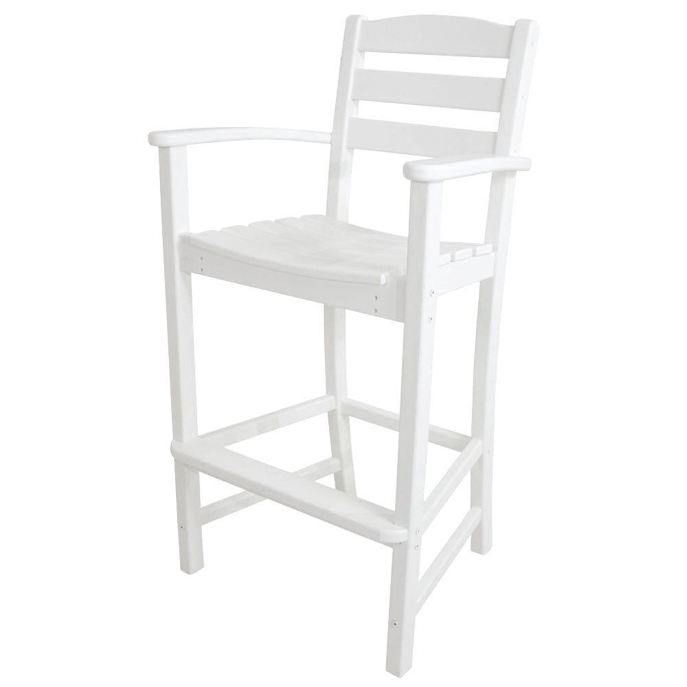 POLYWOOD La Casa Cafe White Plastic Outdoor Patio Bar Arm Chair