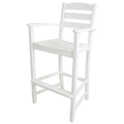 La Casa Cafe White Plastic Outdoor Patio Bar Arm Chair