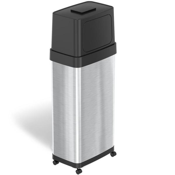 24 Gal. 91 l Bin Rectangular Dual Push Door Stainless Steel Trash Can with Wheels and AbsorbX Odor Control System
