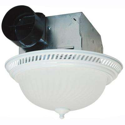 Decorative White 70 CFM Ceiling Bathroom Exhaust Fan with Light