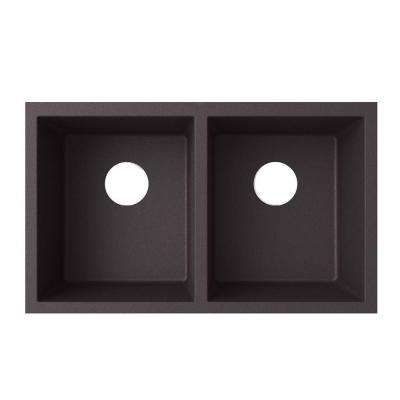Undermount Granite 32 in. 0-Hole 50/50 Double Bowl Kitchen Sink in Nero