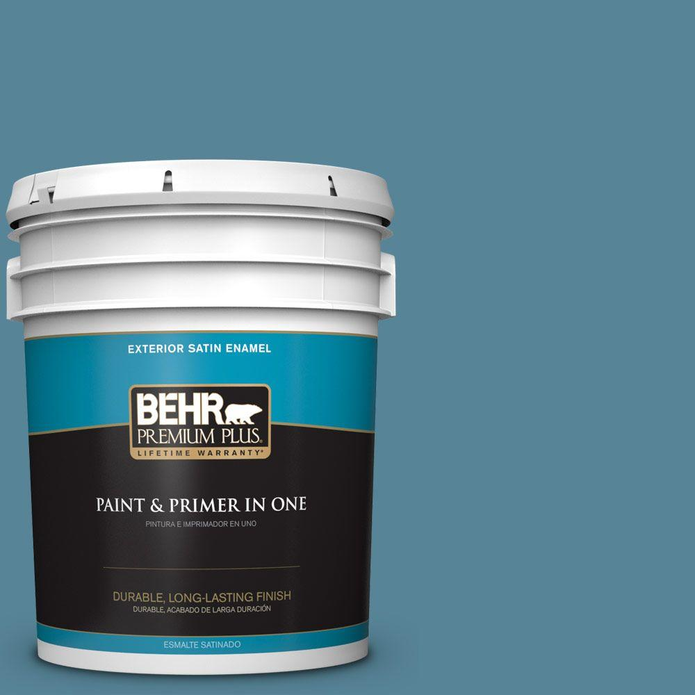 5-gal. #S480-5 Blue Moon Bay Satin Enamel Exterior Paint