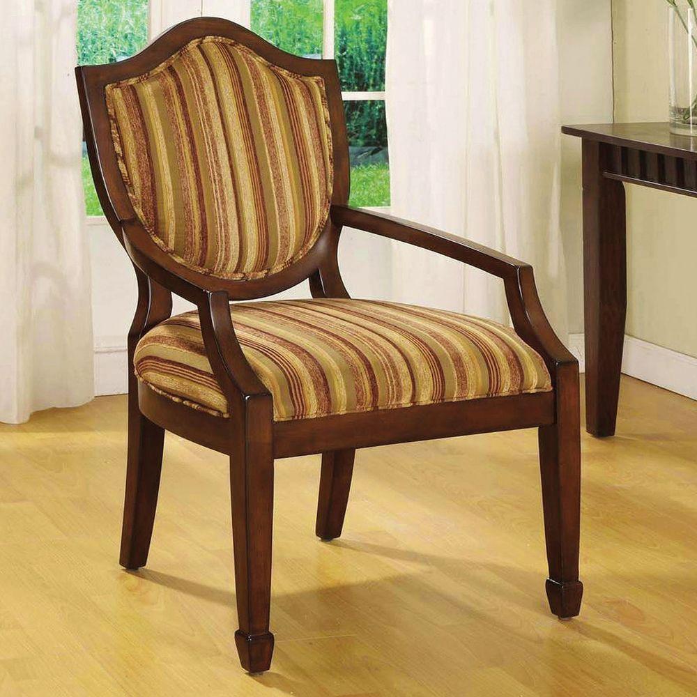 Bernetta Espresso Striped Fabric Arm Chair