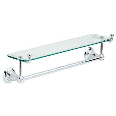 Porter 18 in. Towel Bar with Glass Shelf in Chrome