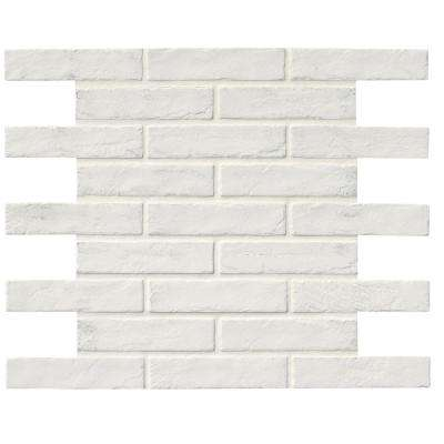 Capella White Brick 2-1/3 in. x 10 in. Glazed Porcelain Floor and Wall Tile (5.17 sq. ft. / case)