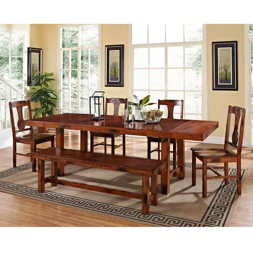 Walker Edison Furniture Company Huntsman 6 Piece Dark Oak Dining Set HD60H2DO    The Home Depot. Walker Edison Furniture Company Huntsman 6 Piece Dark Oak Dining