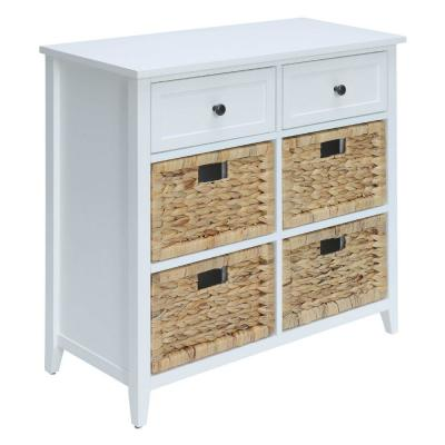28 in. H White Wooden Console Table with 6-Drawers