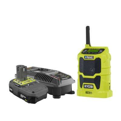 18-Volt ONE+ Cordless Compact Radio with Lithium-Ion 2.0 Ah Battery and Dual Chemistry IntelliPort Charger Kit