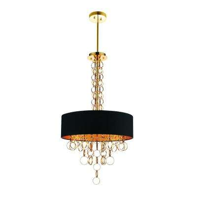 Chained 6-Light Gold Chandelier with Gold shade
