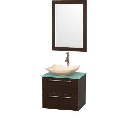 Amare 24 in. Vanity in Espresso with Glass Vanity Top in Green, Marble Sink and 24 in. Mirror