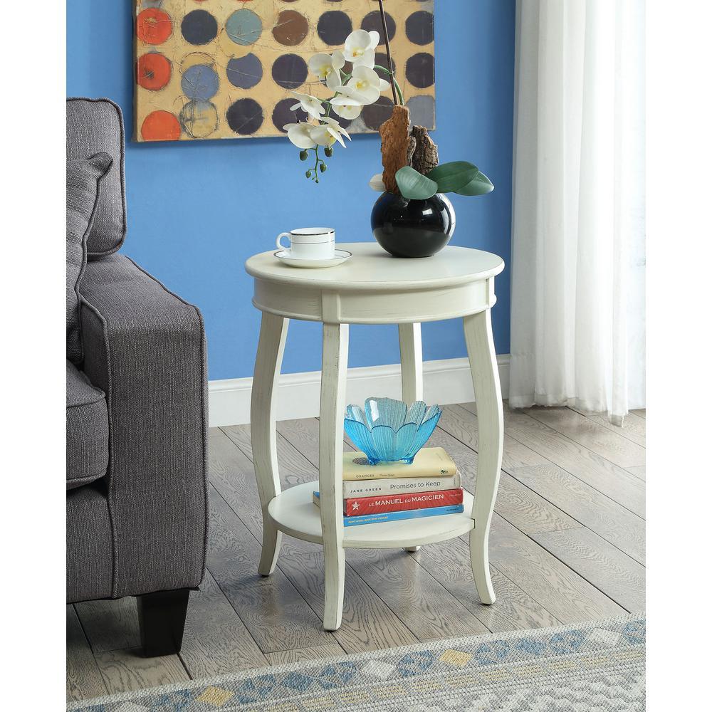 Aberta Antique White Storage Side Table