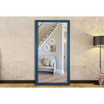 65.5 in. x 32 in. Country Cottage Blue Framed Beveled Tall Mirror