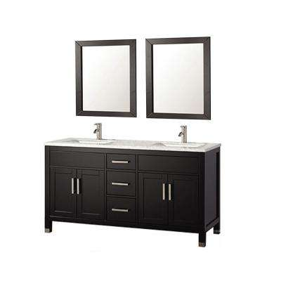 Ricca 60 in. W x 22 in. D x 36 in. H Vanity in Espresso with Marble Vanity Top in White with White Basins and Mirror