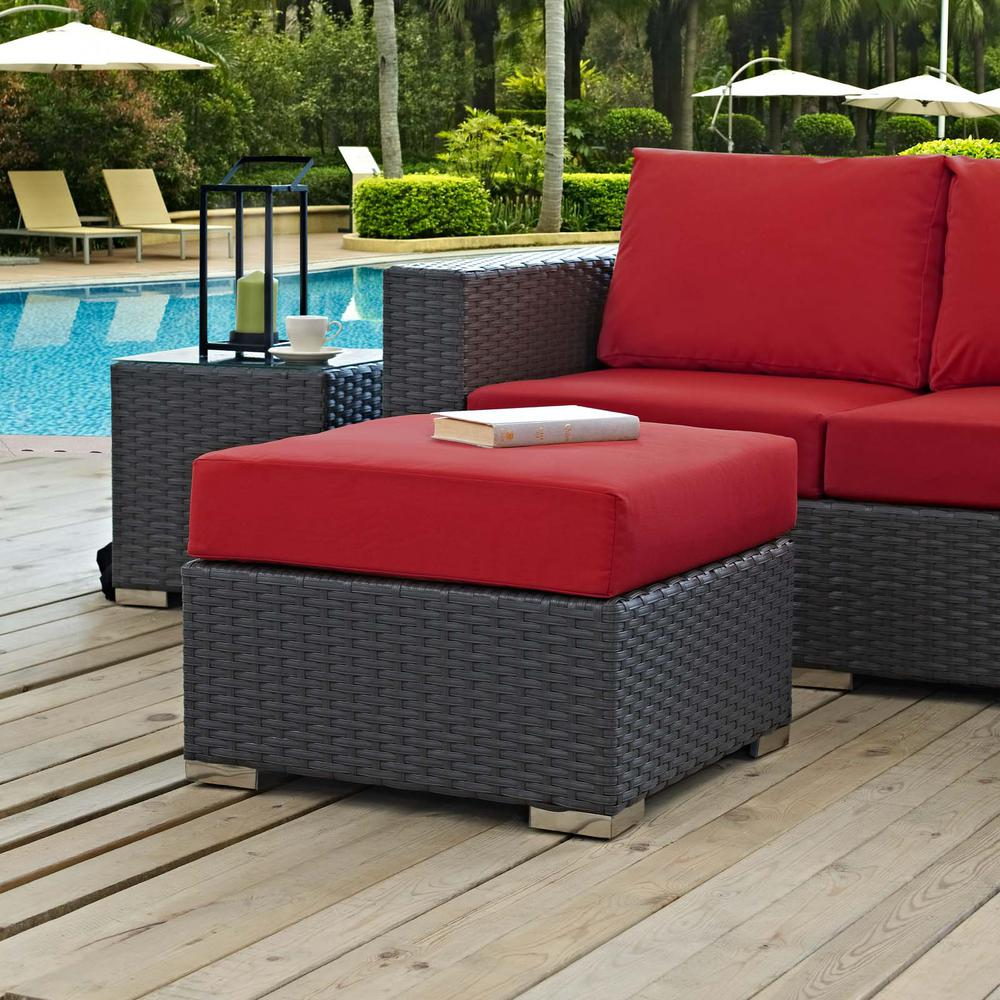 Sojourn Wicker Outdoor Patio Ottoman with Sunbrella Canvas Red Cushion