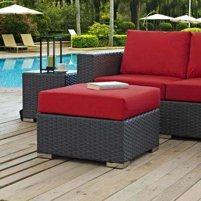 Sojourn Wicker Outdoor Patio Ottoman with Sunbrella Canvas Red Cushion - MODWAY - Outdoor Lounge Furniture - Patio Furniture - The Home Depot