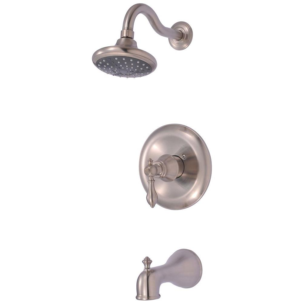 Ultra Faucets Signature 1-Handle Tub and 1-Spray Shower Faucet in Brushed Nickel