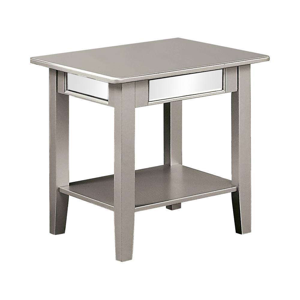 Yveta Silver Open Shelf End Table