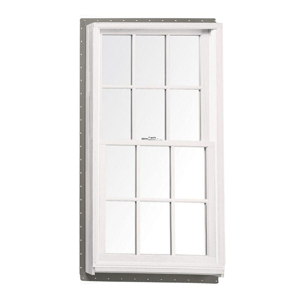 Andersen 37 625 In X 56 875 400 Series Tilt Wash Double Hung Wood Window With White Exterior And Colonial Grilles