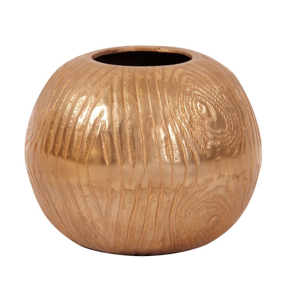 Medium Textured Gold Round Decorative Vase