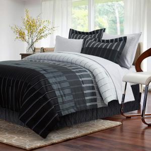 Brown Grey Ombre Stripe 8 Piece Full Bed In Bag Set