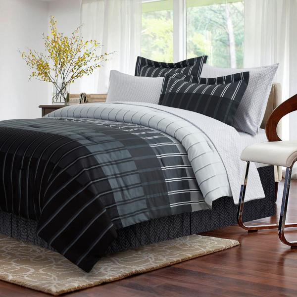 Ombre 6-Piece Grey Twin Bed in a Bag Set
