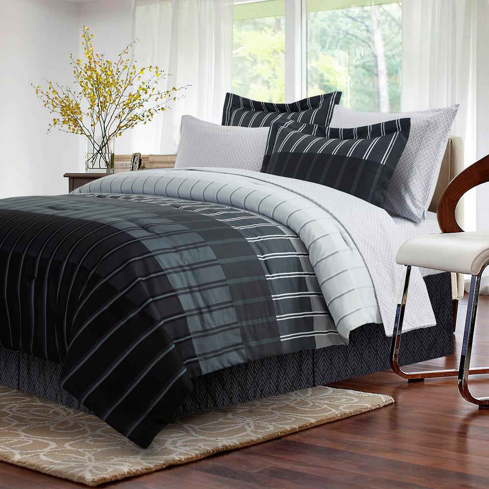 Brown & Grey Ombre Stripe 8-Piece Grey Queen Bed-In-Bag Set BG180180043