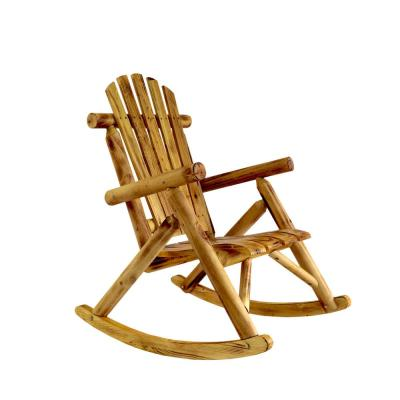 Long North Europe Rustic Style Wood Outdoor Rocking Chair